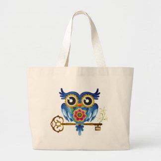 Skeleton Key Owl Tote Bags