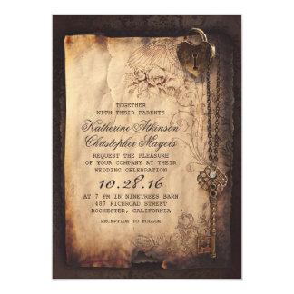 skeleton key vintage wedding invitations