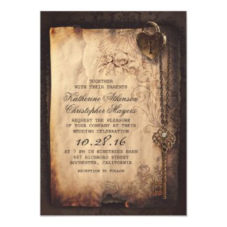"skeleton key vintage wedding invitations 5"" x 7"" invitation card"
