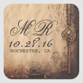 skeleton key vintage wedding stickers