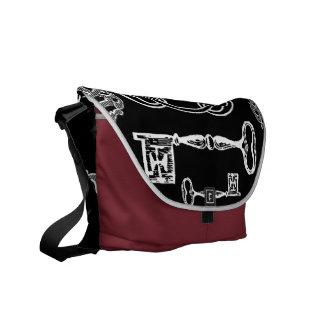 Skeleton Keys Lock Messenger Bag