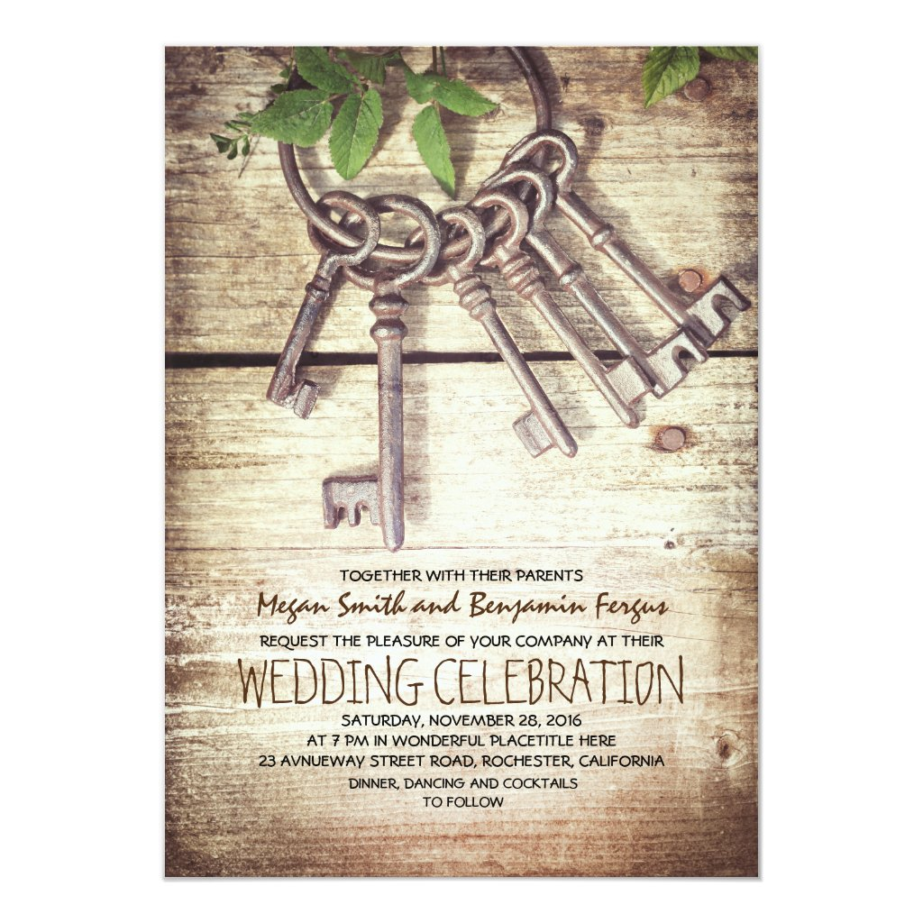 Rustic Vintage Skeleton Key Wedding Invitations
