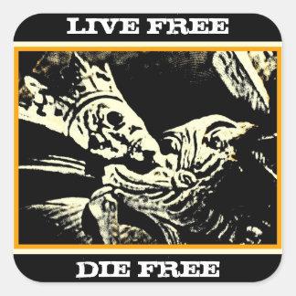 "SKELETON KING ""LIVE FREE, DIE FREE"" GOLD BLACK SQUARE STICKERS"