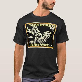"""SKELETON KING """"LIVE FREE, DIE FREE"""" GOLD BLACK T-Shirt"""