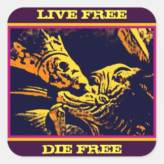 "SKELETON KING ""LIVE FREE, DIE FREE"" SQUARE STICKER"