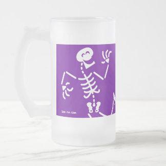 Skeleton Laughing Frosted Glass Beer Mug