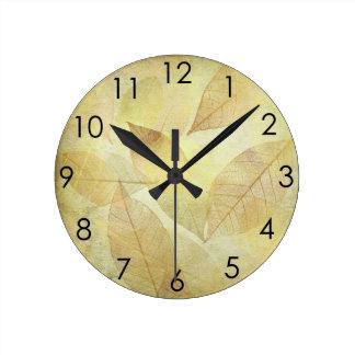 Skeleton Leaves Gold & Copper & Bronze Round Clock