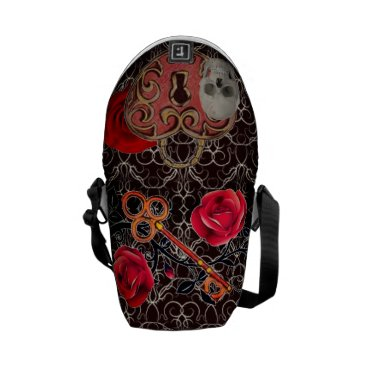 Halloween Themed Skeleton Lock and Key Burgundy Courier Bag