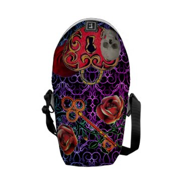 Halloween Themed Skeleton Lock and Key Purple Messenger Bag