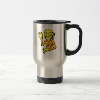 Skeleton looking alien robot travel mug