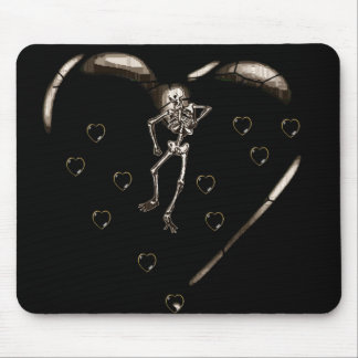 Skeleton Love Hearts Mouse Pad