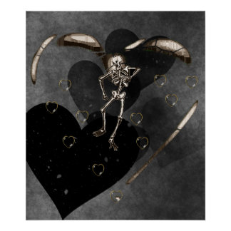 Skeleton Love Hearts Poster