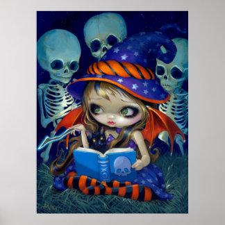 Skeleton Magic ART PRINT Halloween Witch fairy