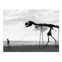 Skeleton man walking skeleton dinosaur, SD Postcard