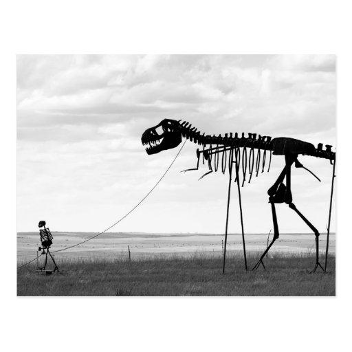 Skeleton man walking skeleton dinosaur, SD Postcards