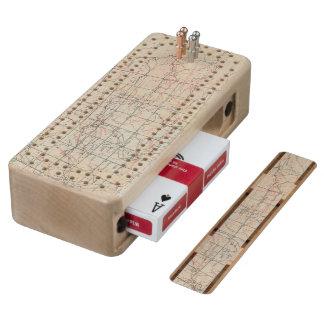 Skeleton Map Wood Cribbage Board