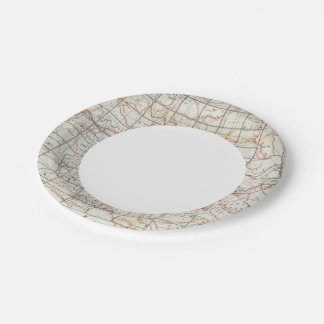 Skeleton Map 7 Inch Paper Plate