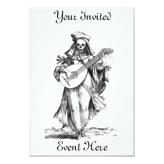 "Skeleton Minstrel Invitation 3.5"" X 5"" Invitation Card"