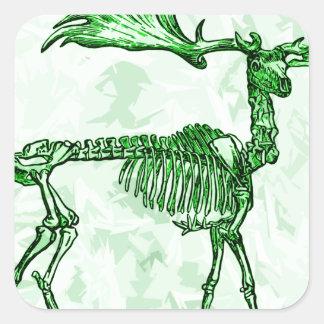 skeleton moose square sticker