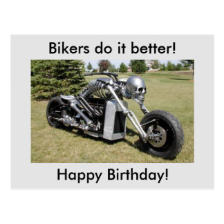 Skeleton Motorcycle Birthday Postcard