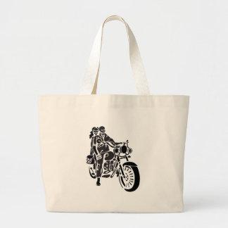 Skeleton Motorcycle Couple Large Tote Bag