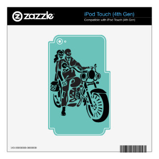 Skeleton Motorcycle Couple Skins For iPod Touch 4G
