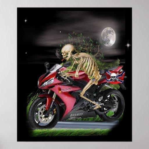 Skeleton Motorcycle items Posters