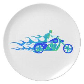 Skeleton on a Motorcycle Dinner Plate