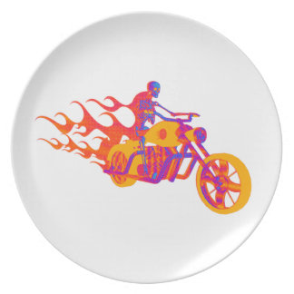 Skeleton on a Motorcycle Plate