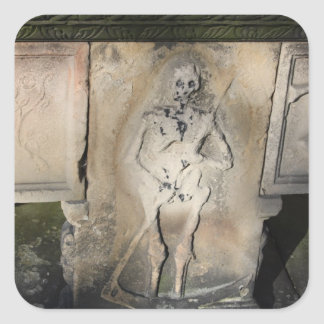 Skeleton on a Tombstone Stickers