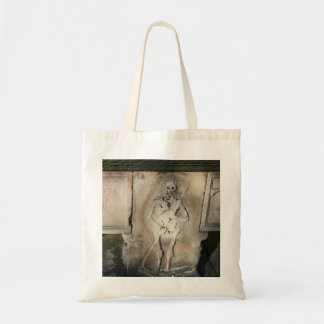 Skeleton on a Tombstone Tote Bag