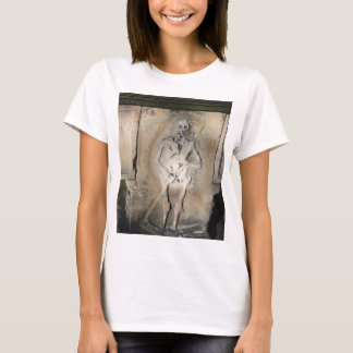 Skeleton on a Tombstone Womens Tee Shirt