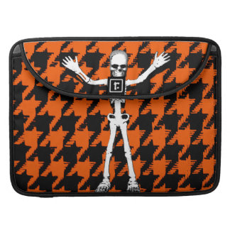 Skeleton On Halloween Houndstooth Sleeve For MacBooks