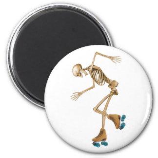 Skeleton on Roller Skates 2 Inch Round Magnet