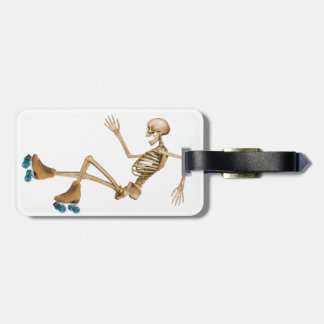 Skeleton on Roller Skates Bag Tag