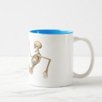 Skeleton on Roller Skates Two-Tone Coffee Mug
