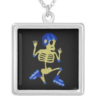 Skeleton on Rollerblades Necklace
