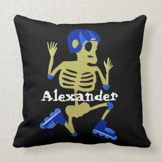 Skeleton on Rollerblades Throw Pillow