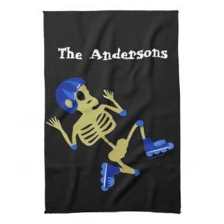 Skeleton on Rollerblades Towels