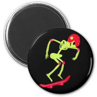 Skeleton on Skateboard Halloween 2 Inch Round Magnet