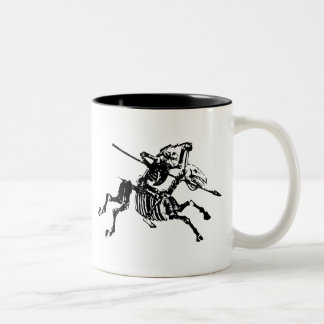 Skeleton on Skeleton Horse Two-Tone Coffee Mug