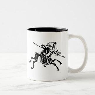 Skeleton on Skeleton Horse Two-Tone Coffee Mug