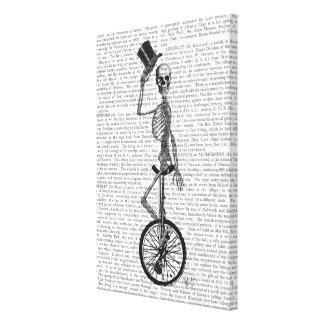 Skeleton on Unicycle Canvas Print