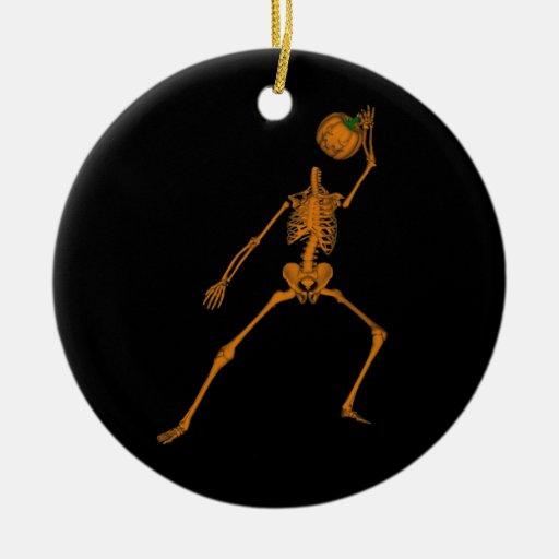 Skeleton Double-Sided Ceramic Round Christmas Ornament