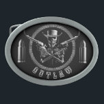 """Skeleton Outlaw Belt Buckles<br><div class=""""desc"""">'I'll give you my gun when you take it from my cold,  dead hands!' And even then,  the bullets are gonna fly when you try to take them from this gun totin' skeleton cowboy. Coming for you,  straight from the Badlands of Hell.</div>"""