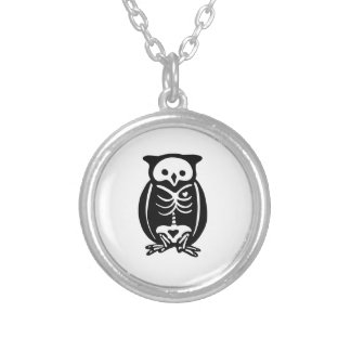 Skeleton Owl Silver Plated Necklace