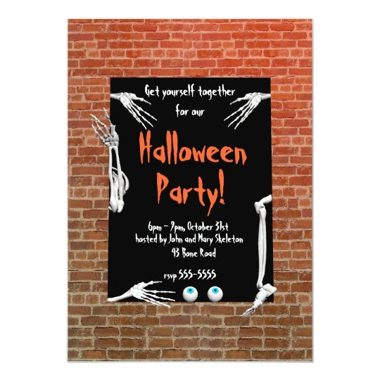 Skeleton Parts Halloween Party Card