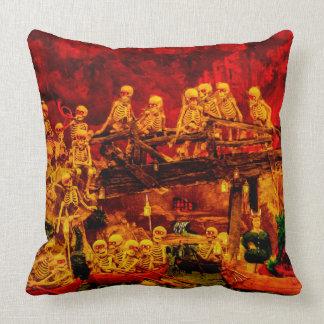 Skeleton Party in Helltown Happy Halloween Vintage Throw Pillow