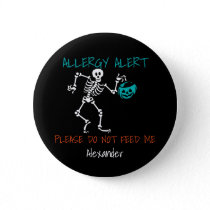 Skeleton Personalized Halloween Food Allergy Kids Button