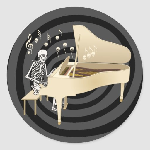Skeleton Pianist Classic Round Sticker
